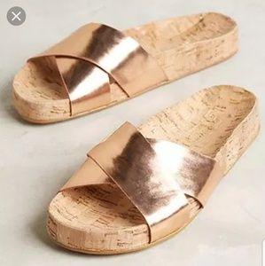 Guilhermina Rose Gold Cork Slides